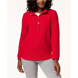 Red Petite Wing-Collar Pullover Top